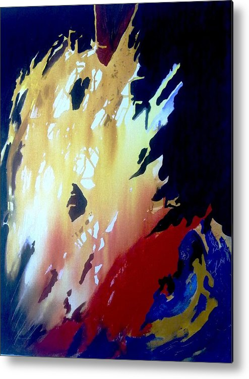 Abstract Metal Print featuring the painting Untitled 2 by Mueen Akhtar