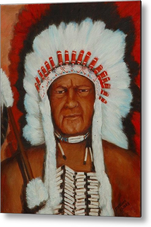Portriat Metal Print featuring the painting The Chief by Merle Blair