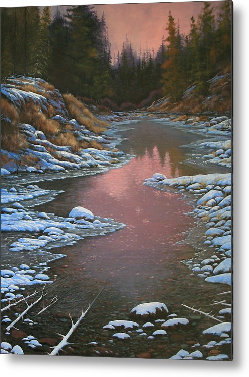 Landscape Metal Print featuring the painting 080210-3040 Early Morning Light - Winter by Kenneth Shanika