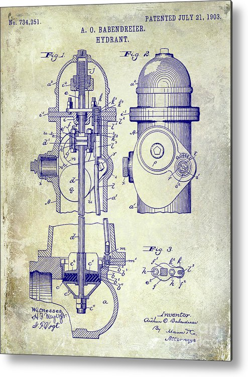 Fire Patent Drawing Metal Print featuring the photograph 1903 Fire Hydrant Patent by Jon Neidert