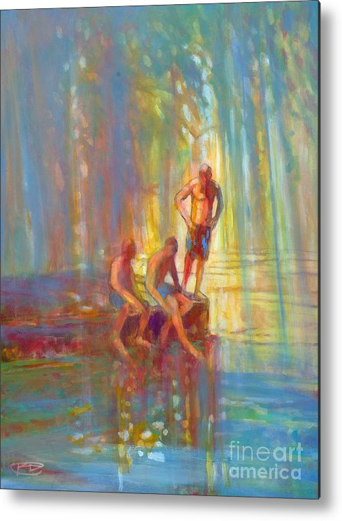 Swimmers Metal Print featuring the painting Before The Swim by Kip Decker