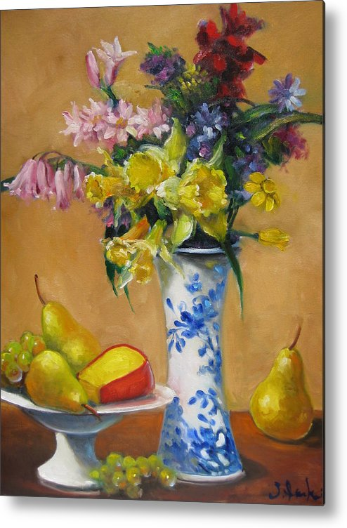 Still Life Metal Print featuring the painting Blue And White Vase by Susan Jenkins
