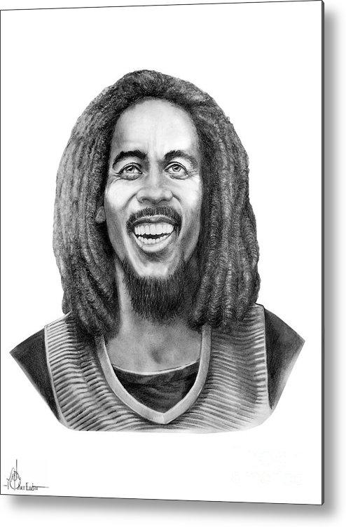 Bob Marley Metal Print featuring the drawing Bob Marley by Murphy Elliott
