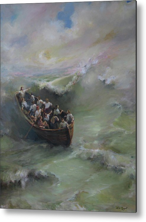 Calming The Storm Metal Print featuring the painting Calming The Storm by Tigran Ghulyan