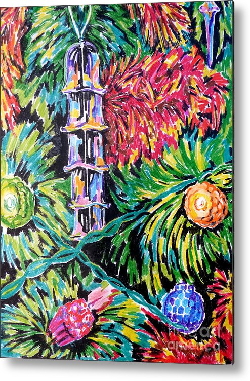 Tree Christmas Lights Tinsel Xmas Baubles Glass Colour Metal Print featuring the pastel Christmas Tree by Debbie Diamond