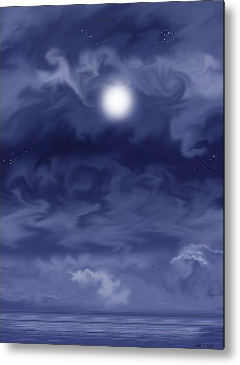 Moon Metal Print featuring the painting Cobalt by Anne Norskog