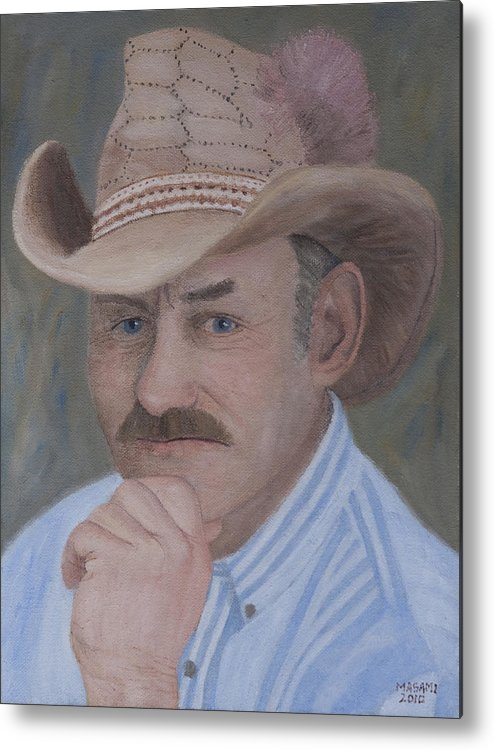 Portrait Metal Print featuring the painting Cowboy by Masami Iida