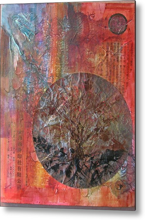 Abstract Metal Print featuring the painting Global Series 3 by John Vandebrooke