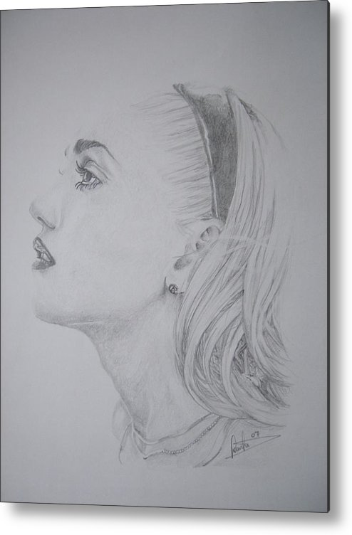 Celeb Portraits Metal Print featuring the drawing Gwen Stefani by Sean Leonard