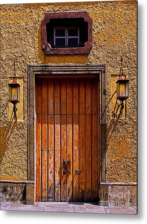 Tlaquepaque Metal Print featuring the photograph Lamps And Door by Mexicolors Art Photography