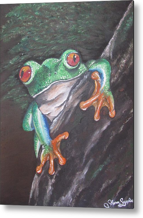 Frog Metal Print featuring the painting Lucky by Sharon Supplee