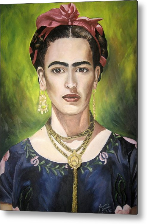 Frida Metal Print featuring the painting Mi Bella Frida by Jessica De la Torre
