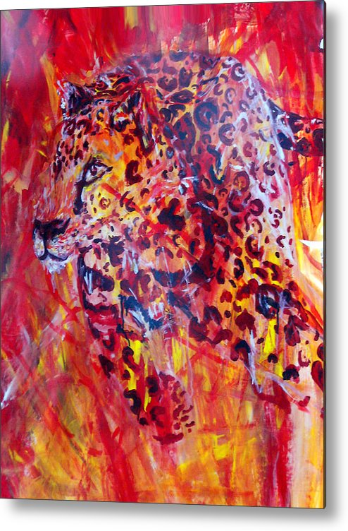 Panther Metal Print featuring the painting Panther by Anne Weirich