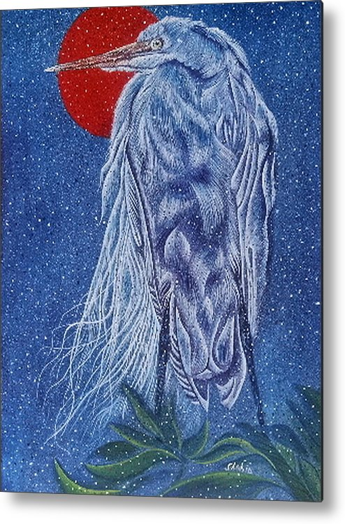 Bir Metal Print featuring the painting Snow Bird by Shahid Muqaddim