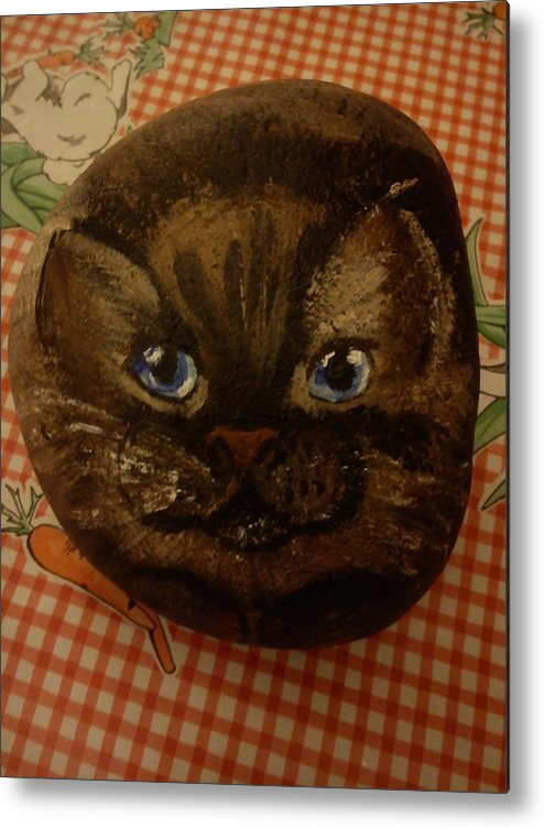 Cat Animal Stone Decorative Acrylic Metal Print featuring the sculpture Stone Cats by Colette Elghozi