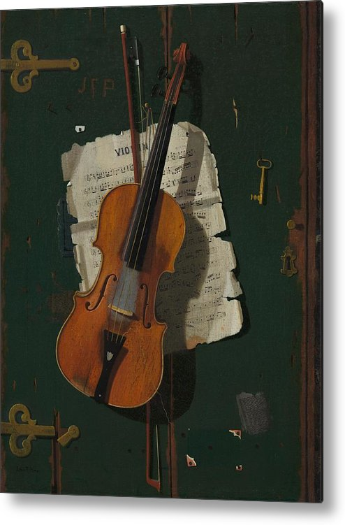 Painting Metal Print featuring the painting The Old Violin by Mountain Dreams