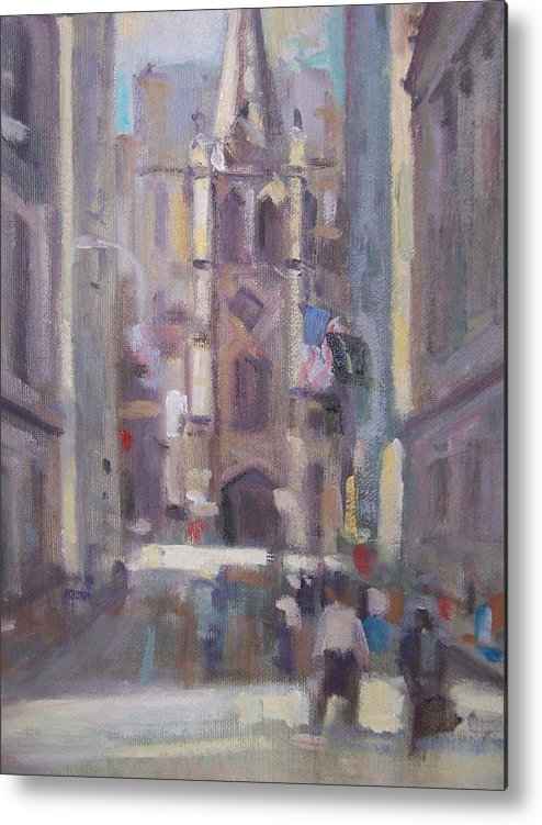 Wall St Looking At Trinity Church. Metal Print featuring the painting Wall St by Bart DeCeglie