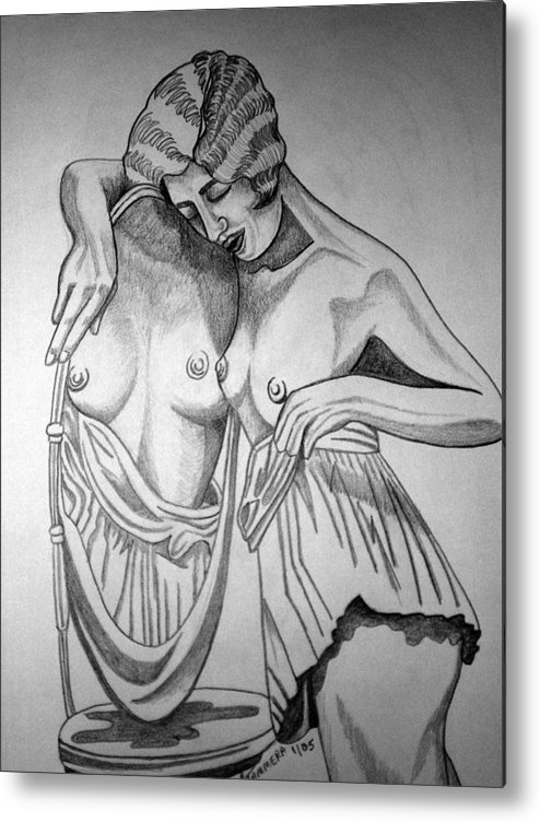 Deco Metal Print featuring the drawing 1920s Women Series 8 by Tammera Malicki-Wong