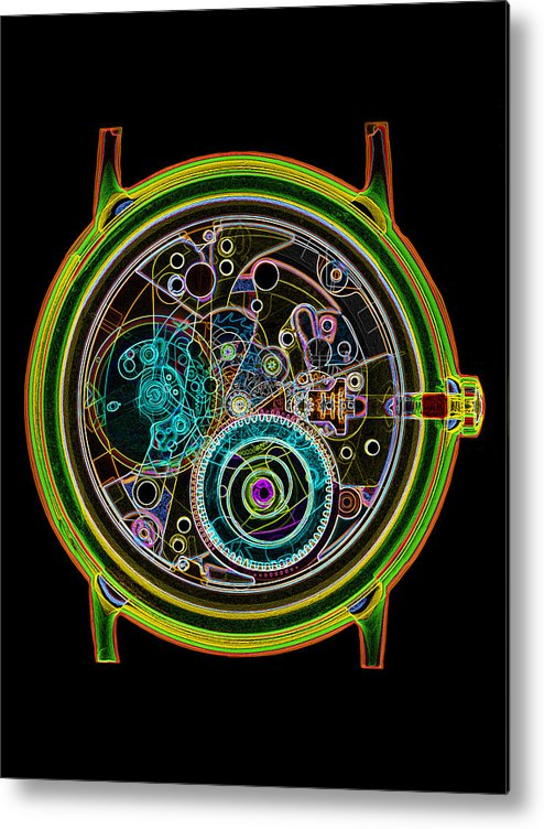 Watch Metal Print featuring the photograph Coloured X-ray Of A 17-jewel Wrist-watch by D. Roberts