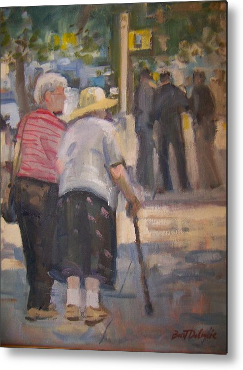 2 Ladies Walking In Ny. Metal Print featuring the painting 2 Ladies In Ny by Bart DeCeglie