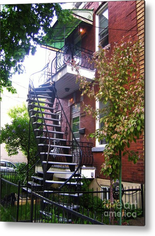 Stairs Balcony Windows House Trees Street Scene Garden Metal Print featuring the photograph Streets Of Montreal by Reb Frost