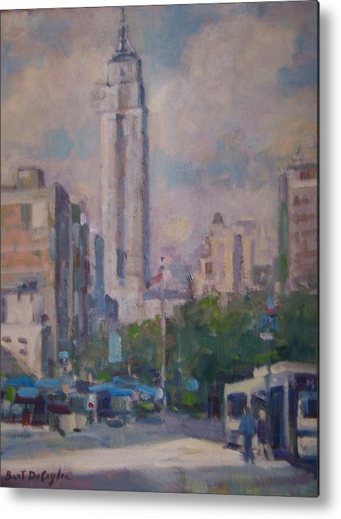 23rd St Looking North At Empire Building Metal Print featuring the painting 23rd St by Bart DeCeglie