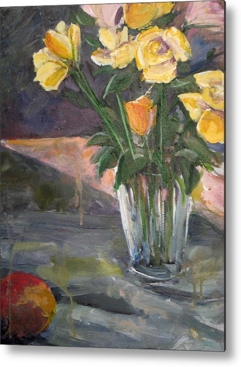 Yellow Rose Metal Print featuring the painting 45 Minutes by Alicia Kroll