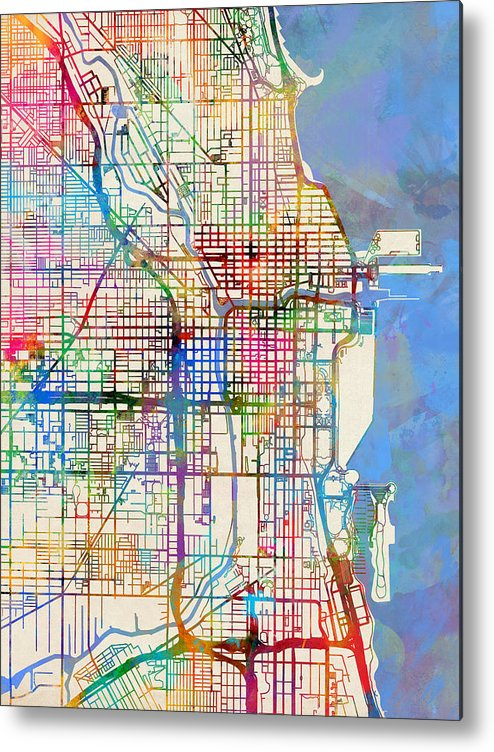 Chicago Map Streets.Chicago City Street Map Metal Print By Michael Tompsett