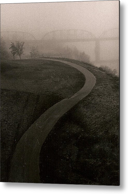 Black-white Metal Print featuring the painting A Dark Widing Road by Arnold Isbister