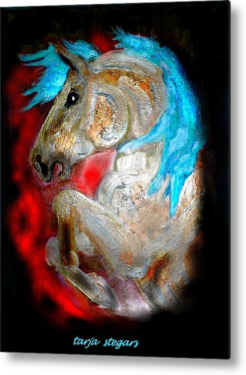 Horse Drawings Metal Print featuring the painting A Knights Dream II by Tarja Stegars