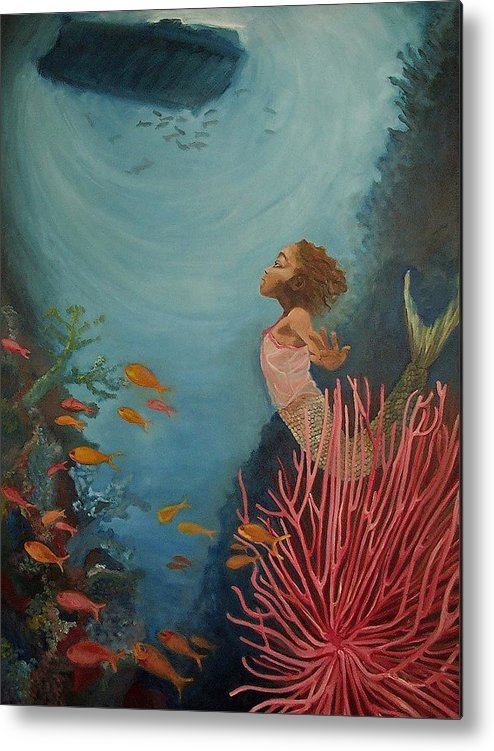 Mermaids Metal Print featuring the painting A Mermaid's Journey by Amira Najah Whitfield