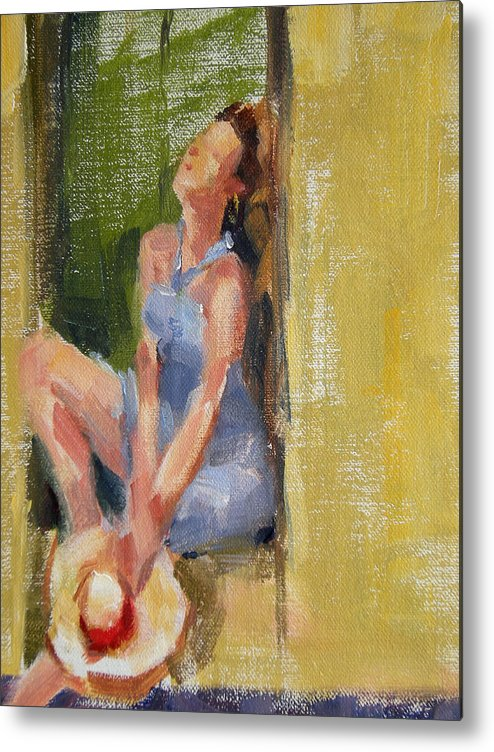 Figurative Metal Print featuring the painting A Moment In The Sun by Merle Keller