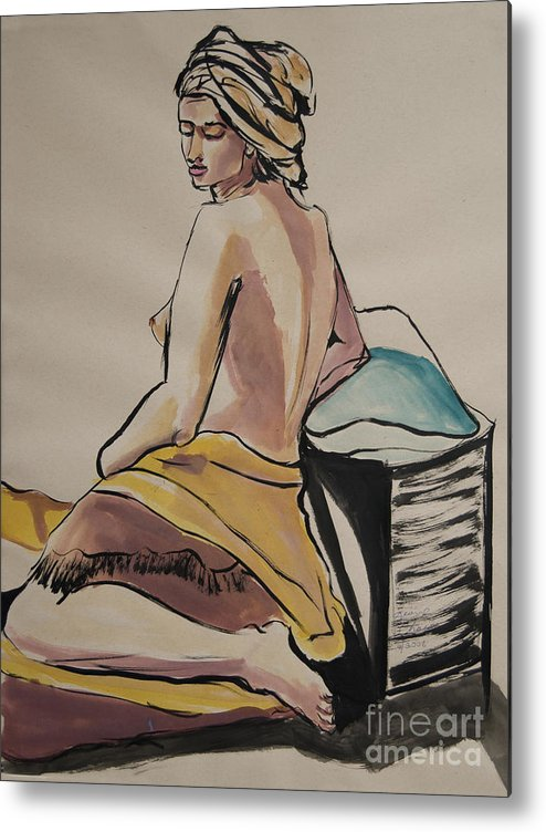 Figures Metal Print featuring the painting A Peaceful Moment by George Chacon