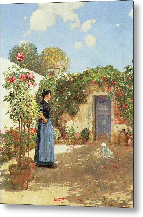 A Sunny Morning Metal Print featuring the painting A Sunny Morning by Childe Hassam