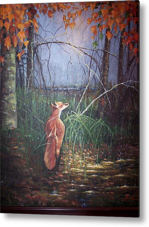 Woods Metal Print featuring the painting A Walk In The Woods by Andreia Medlin