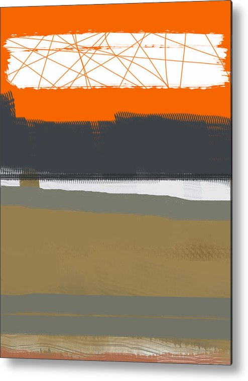 Abstract Metal Print featuring the painting Abstract Orange 1 by Naxart Studio