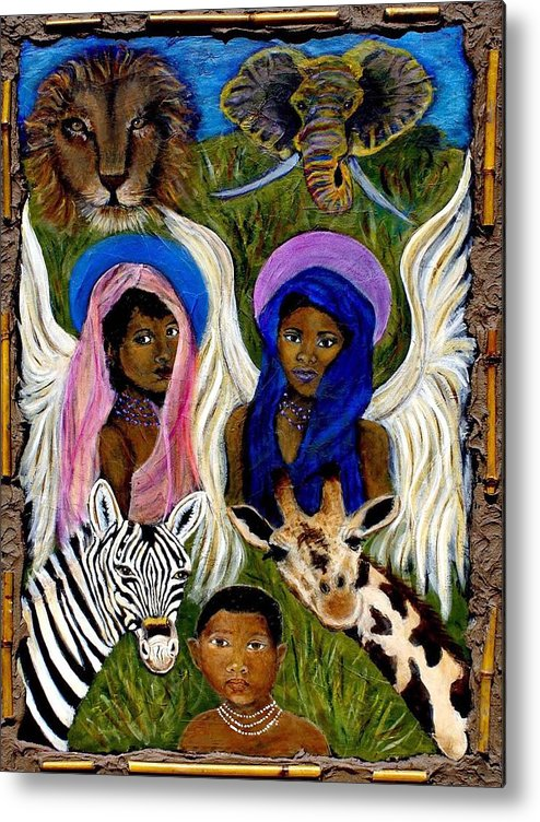 Angels Metal Print featuring the painting African Angels by The Art With A Heart By Charlotte Phillips