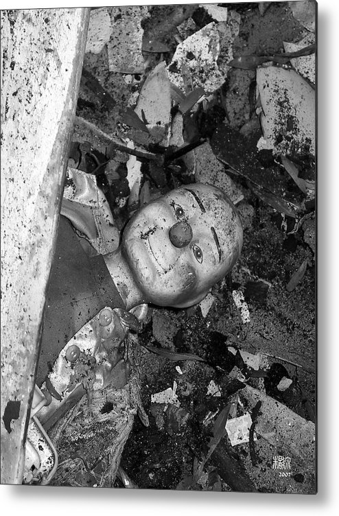 B/w Metal Print featuring the photograph After A Fire by Michele Caporaso