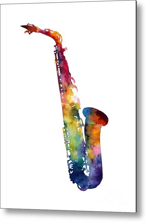 Alto Sax Metal Print featuring the painting Alto Sax by Hailey E Herrera