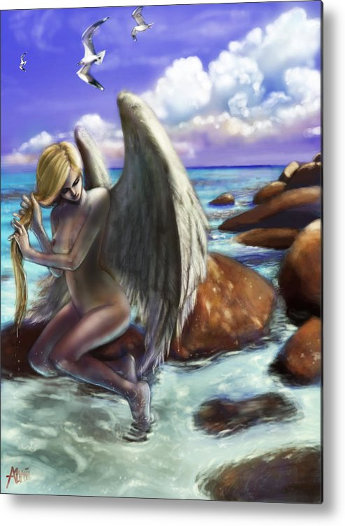 Angel Metal Print featuring the digital art Angel By The Waters by Alvin Goh