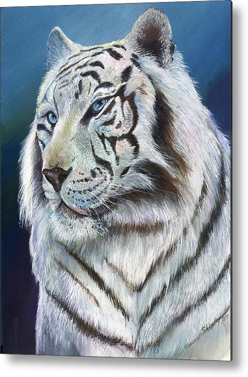 Big Cat Metal Print featuring the painting Angel The White Tiger by Sherry Shipley