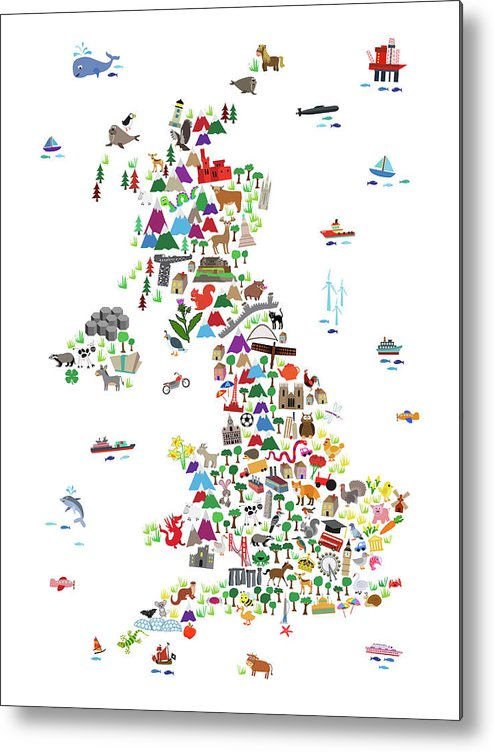Animal Map Of Great Britain For Children And Kids Metal Print