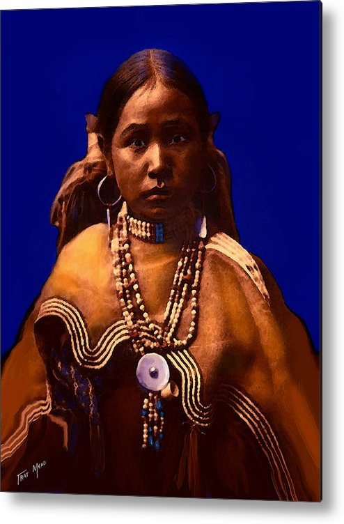 Native American Metal Print featuring the mixed media Apache Maiden by Tray Mead