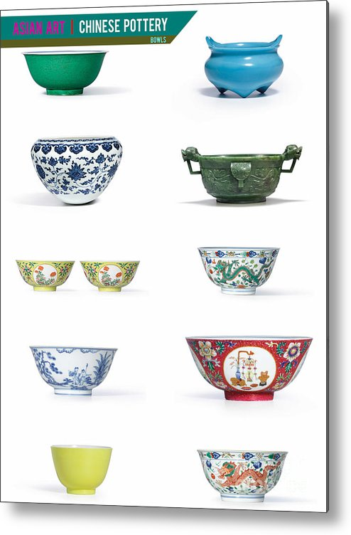 Asian Art Metal Print featuring the photograph Asian Art Chinese Pottery - Bowls by Celestial Images