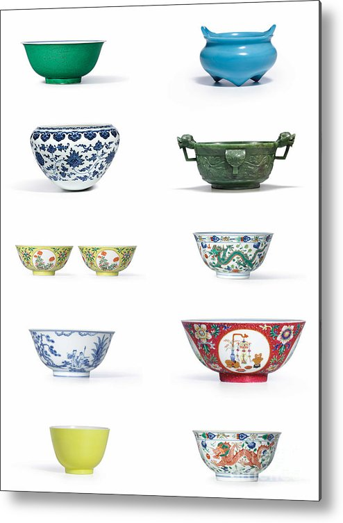 Asian Art Metal Print featuring the photograph Asian Art Chinese Pottery by Celestial Images