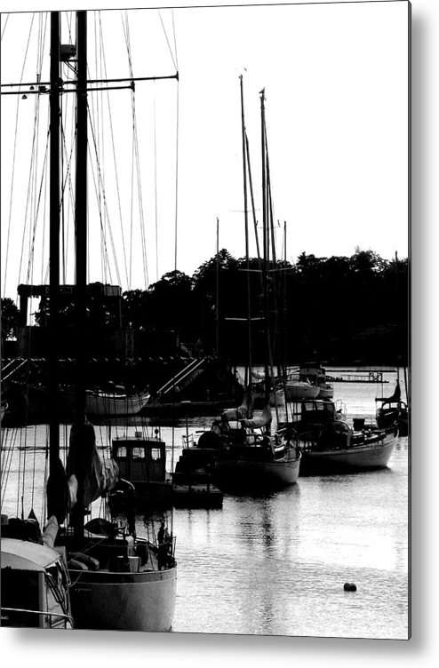 Boats Metal Print featuring the digital art At The Docks by Donna Thomas