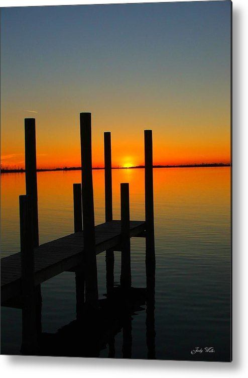 Sunset Metal Print featuring the photograph At The Pier by Judy Waller
