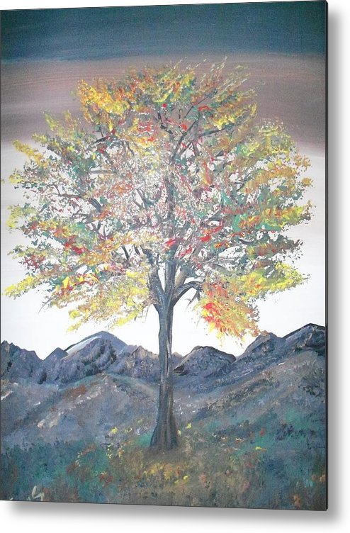 Landscape With Hills And Tree Metal Print featuring the painting Autum Tree by Teresa Nash