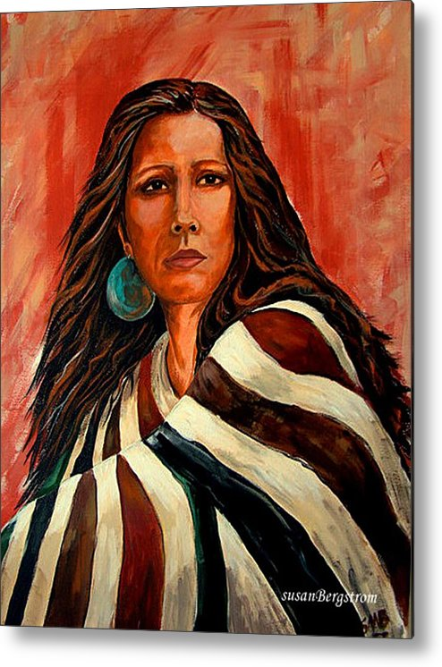 Native American Metal Print featuring the painting Autum Wind Wrapped In Tradition by Susan Bergstrom