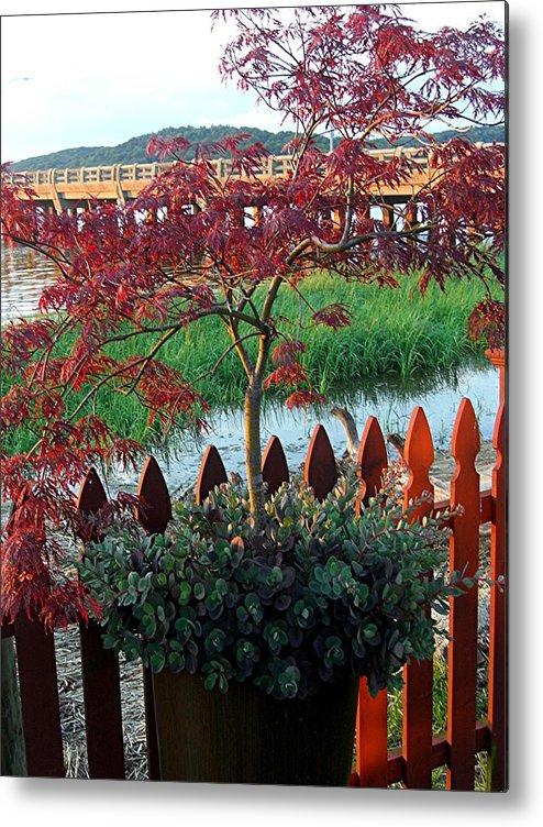 Metal Print featuring the photograph Autumn Bridge by Caroline Urbania Naeem
